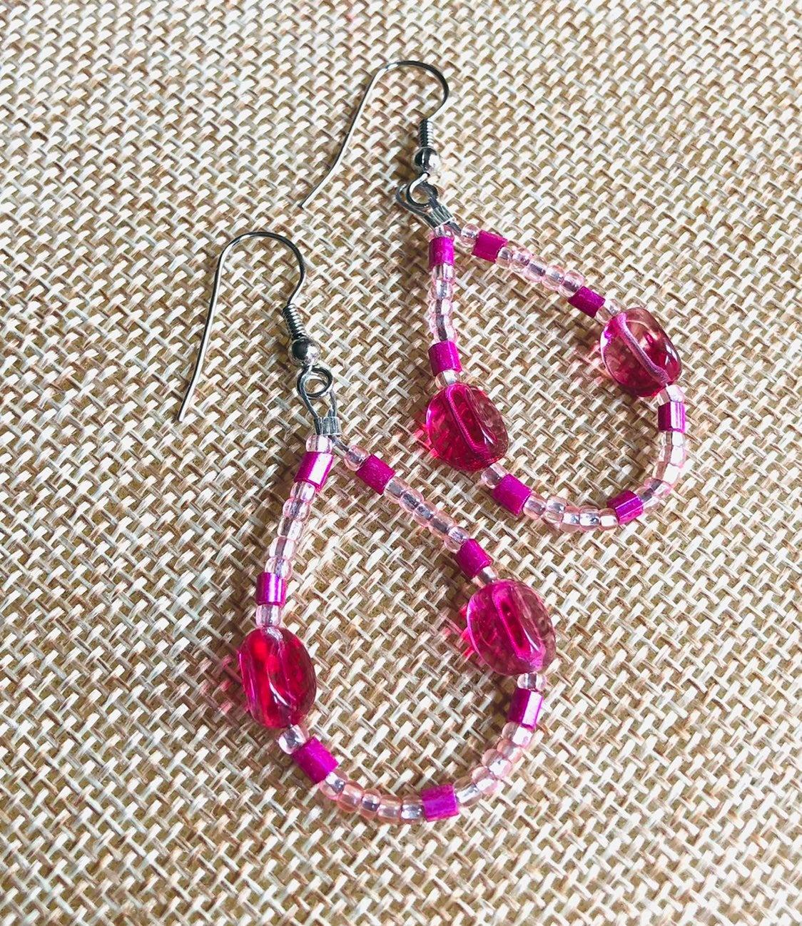 Pink beaded earrings - new