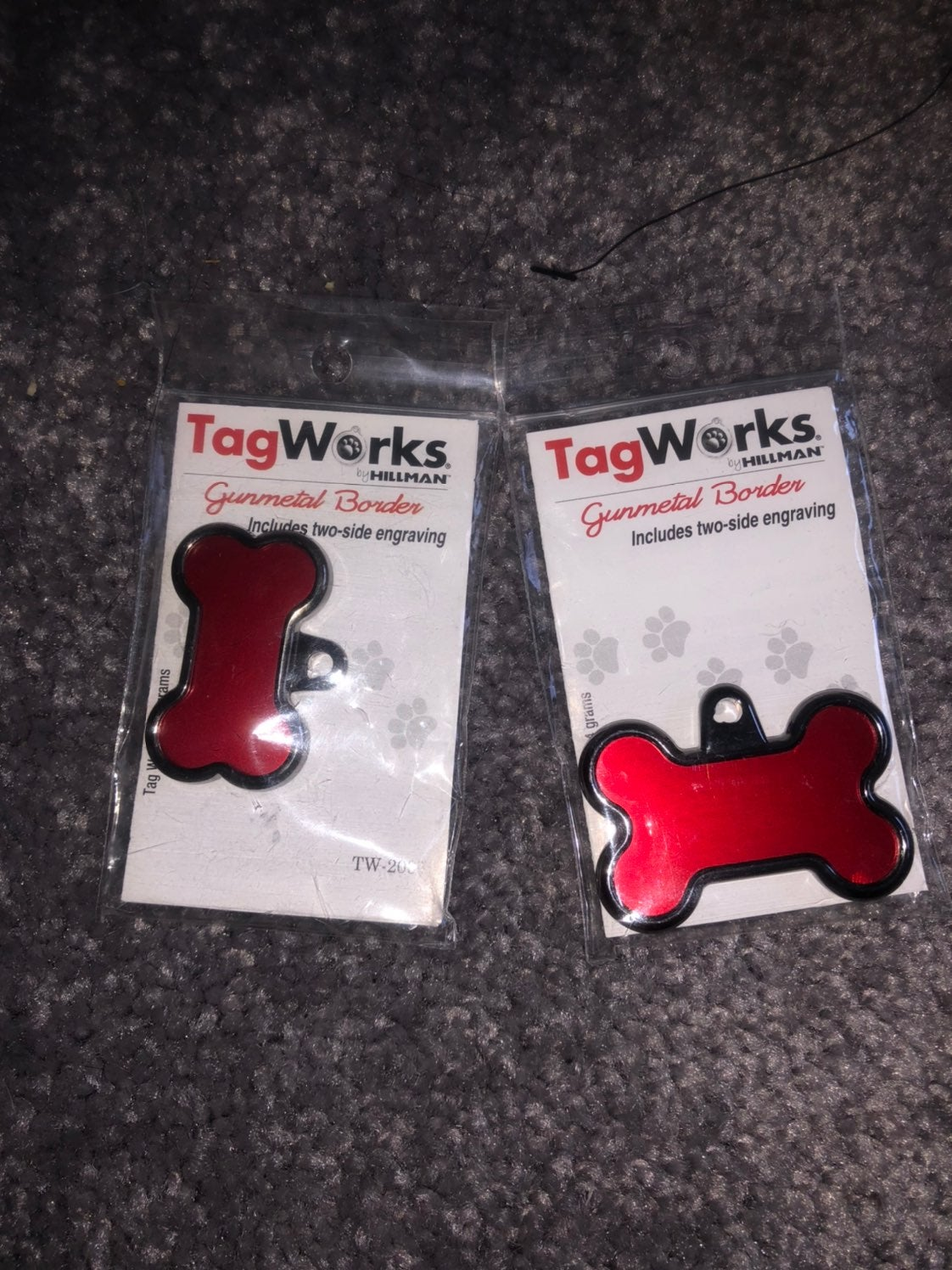 small red pet tag