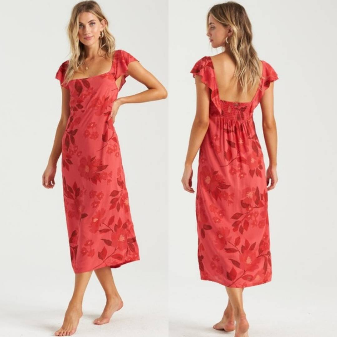 Billabong Waves Red Floral Midi Dress