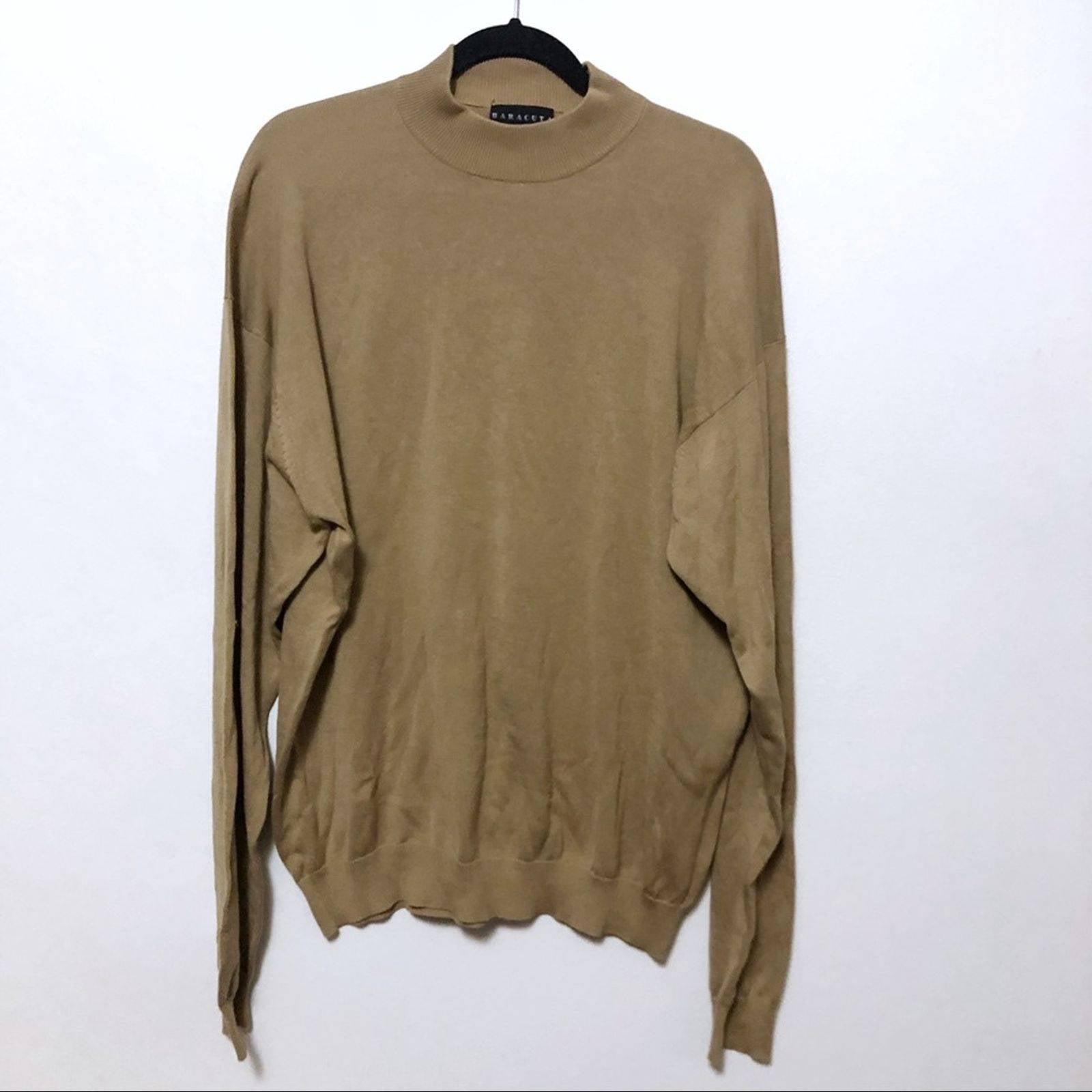 Baracuta tan mockneck sweater silk