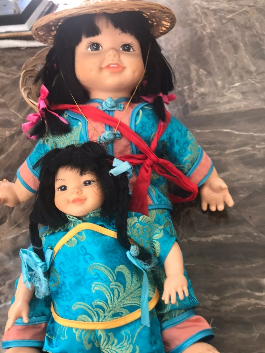 CHINA PORCELAIN FACE MOM & daughter doll