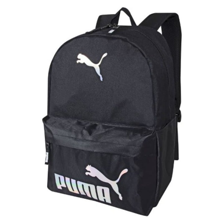 "NEW Puma 19"" Black/Shiny Silver Backpack"