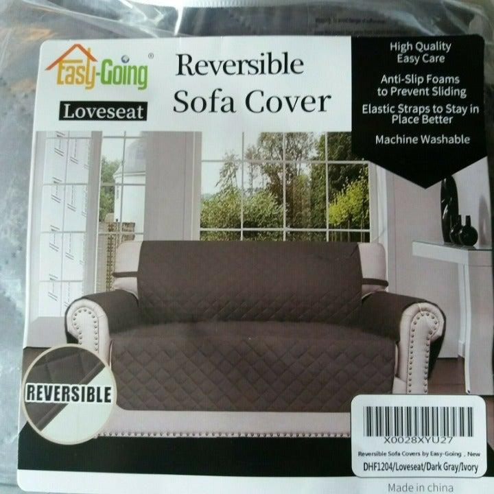 Loveseat Slipcover Reversible Gray Ivory