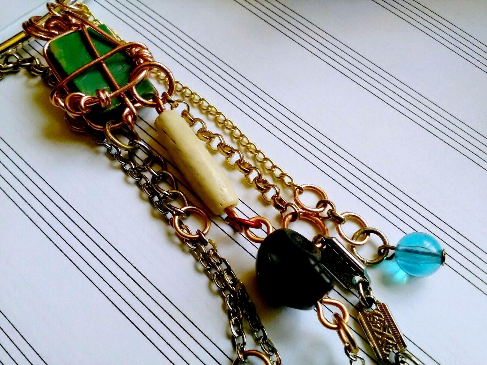 Howlite Turquoise & bib charm necklace,
