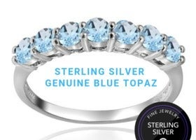 Sterling Silver Blue Topaz Band Ring sz8