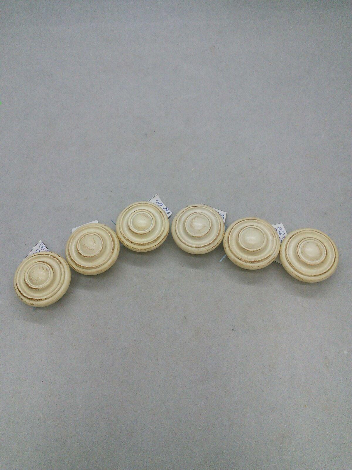 Set 6 Wood Knobs Pulls Painted