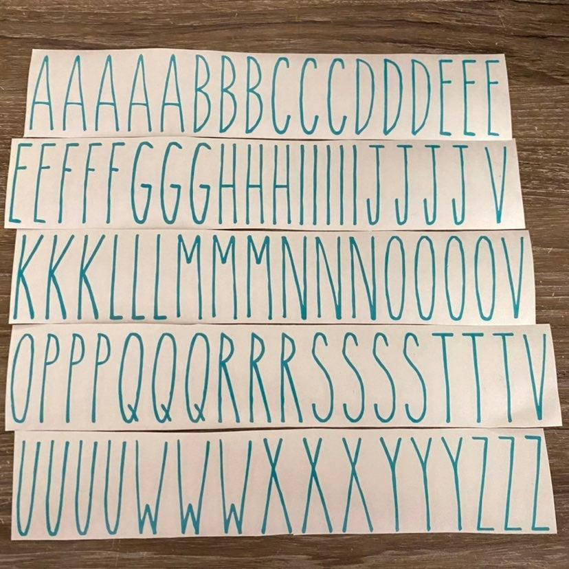 """Inspired ABC Teal Vinyl Lettering  2"""""""