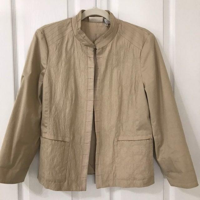 Chico's Khaki Mandarin Collar Jacket