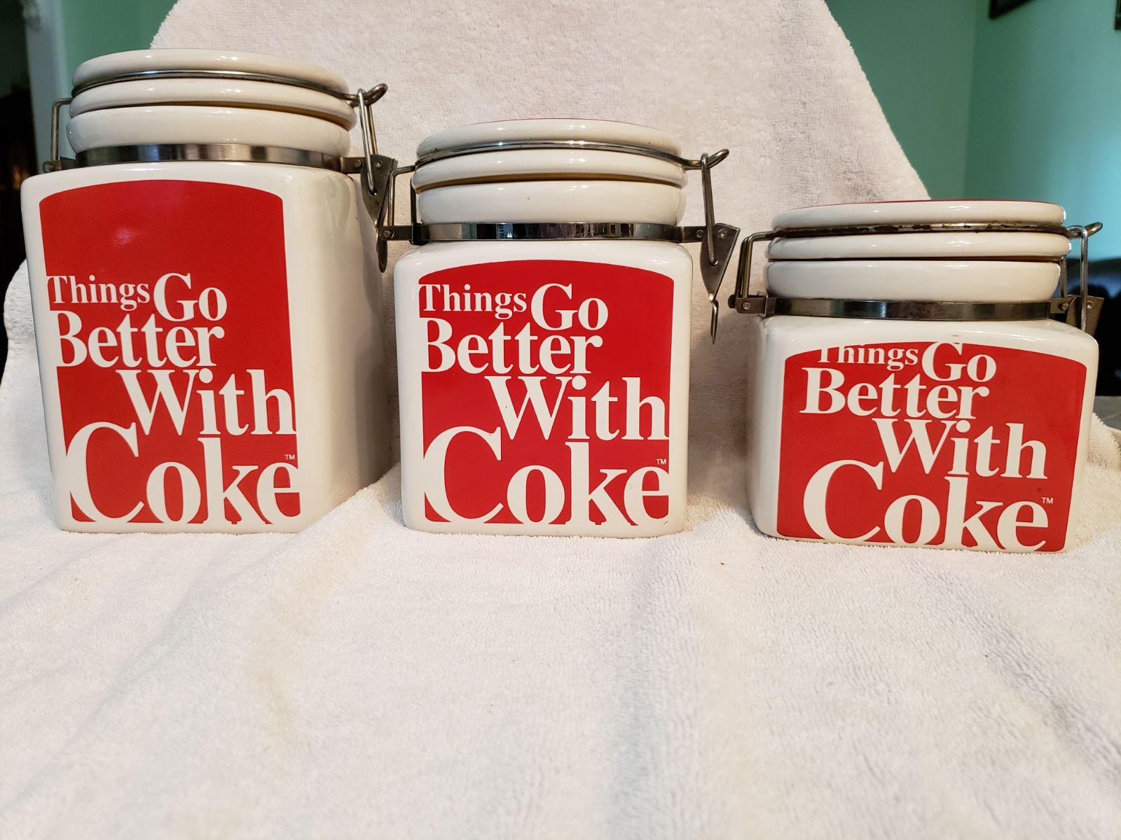 Set of 3 Coca Cola Brand Canisters