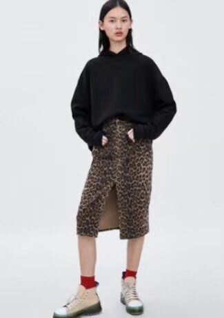 Zara leopart print denim skirt