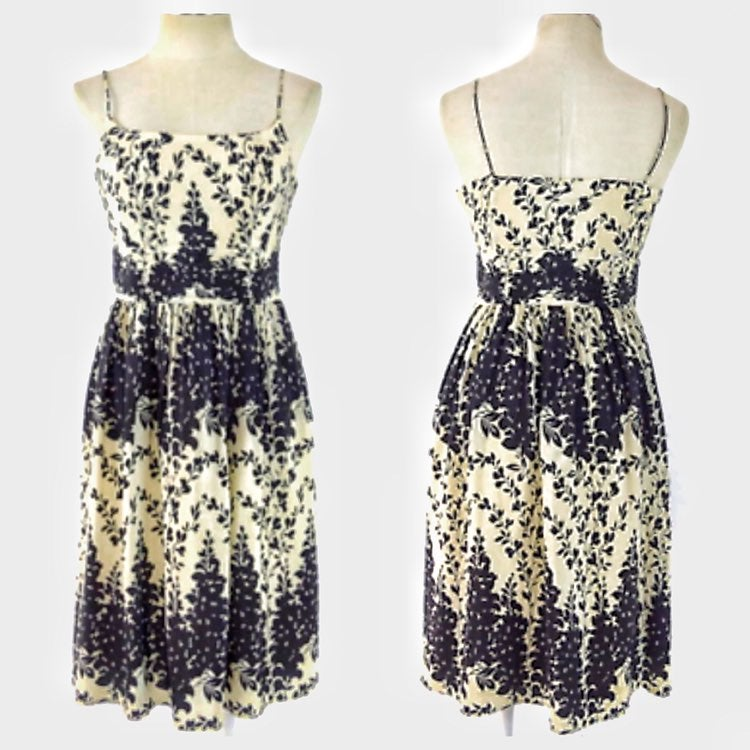 Ann Taylor Black Floral Silk Midi Dress