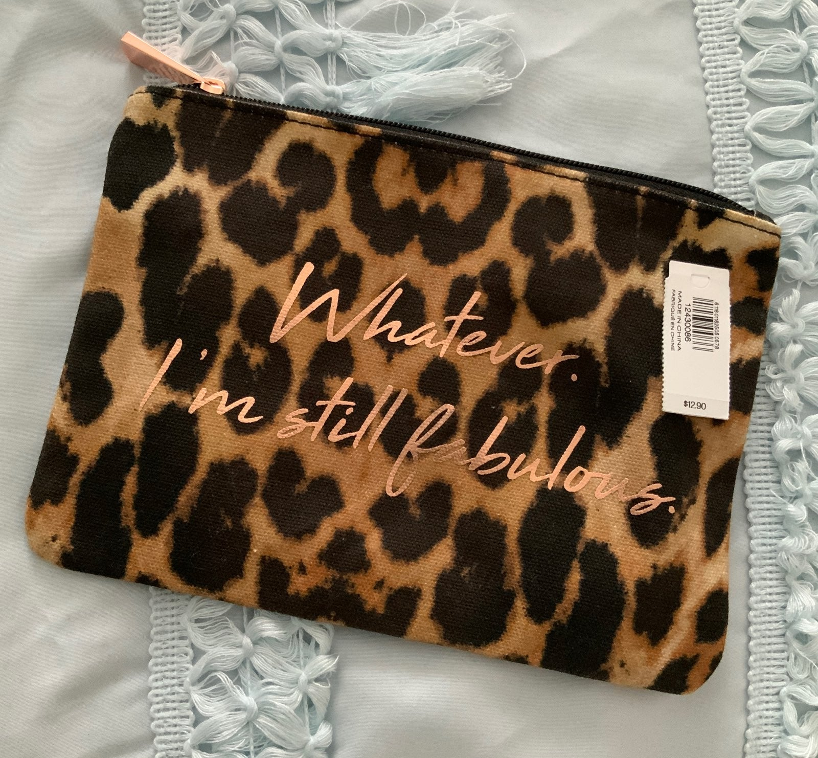 Express leopard print cosmetic bag