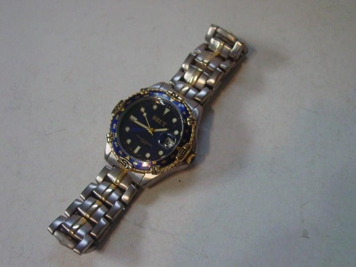 Men's Brut Watch Silver Tone /Blue Face