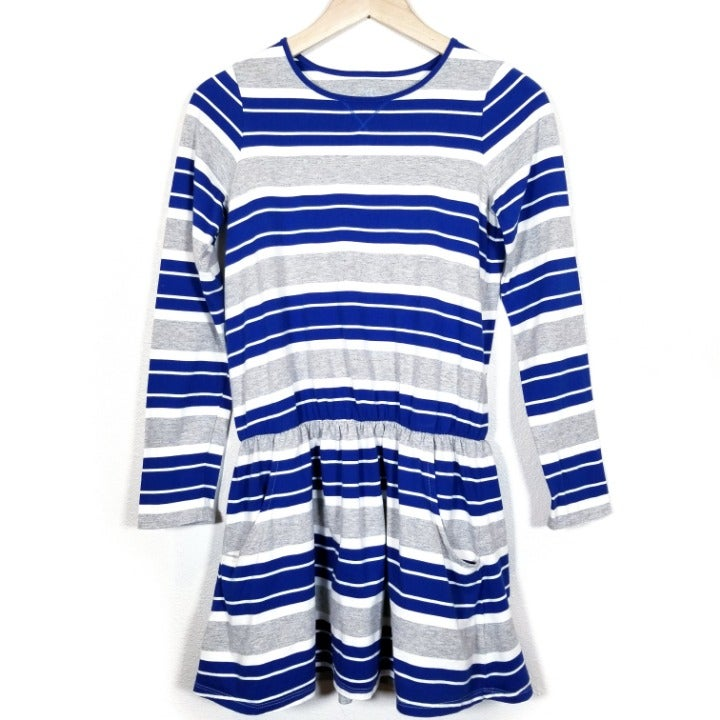Lands' End Blue Gray Stripes Dress 10/12