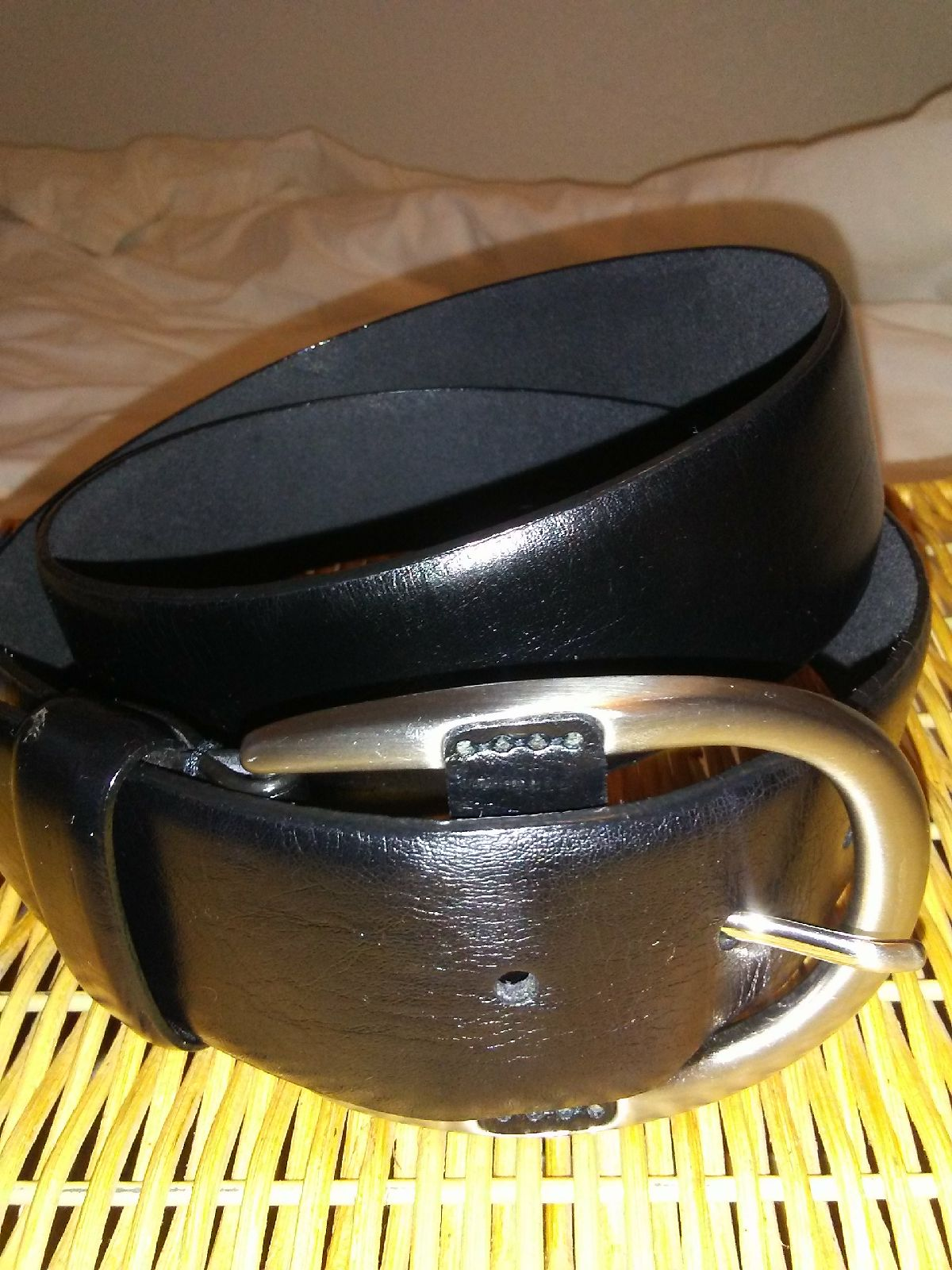 Talbots black leather belt size 38