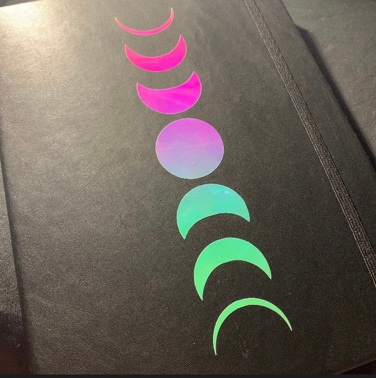 holographic moon phase vinyl DECAL ONLY