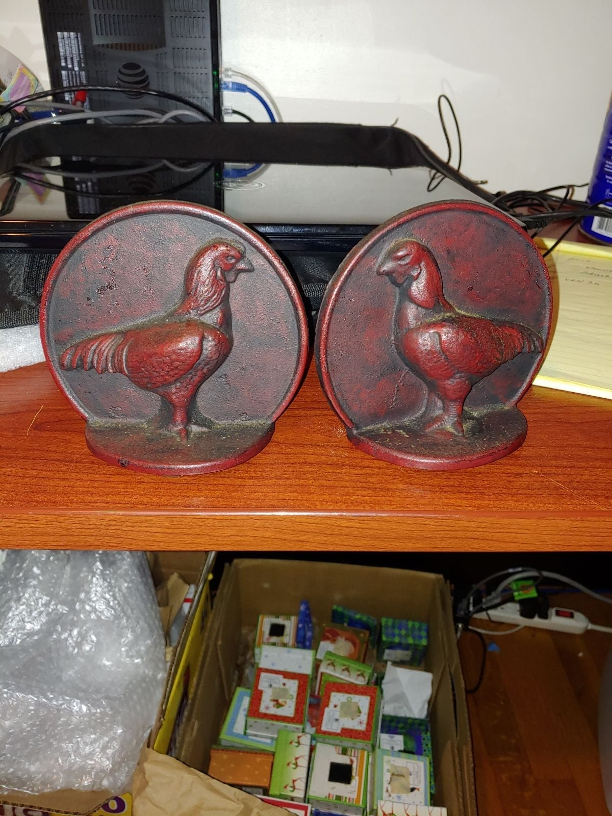 Vintage cast iron rooster bookends