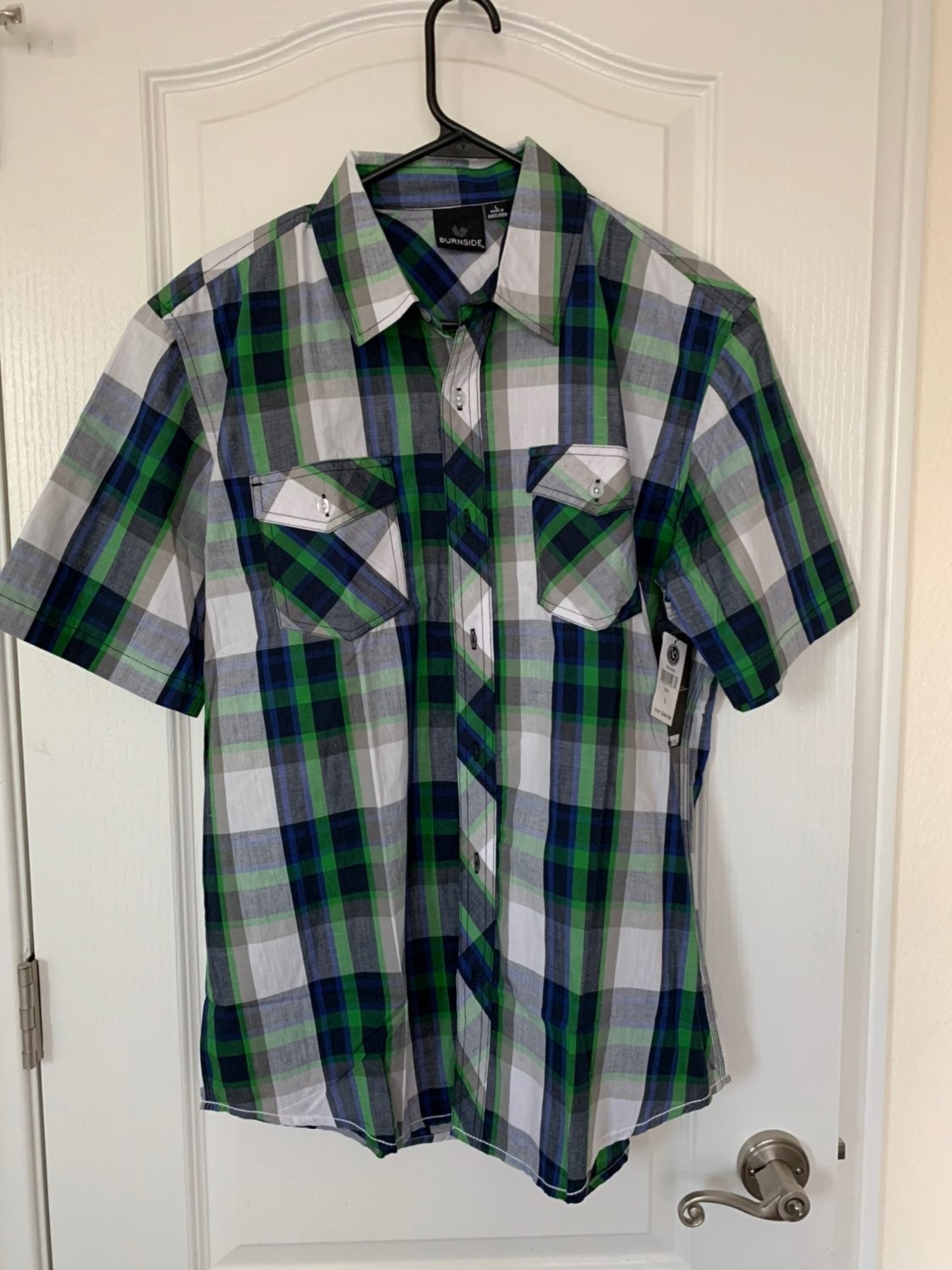 ~NEW Men's Plaid Shirt Blue Green Large