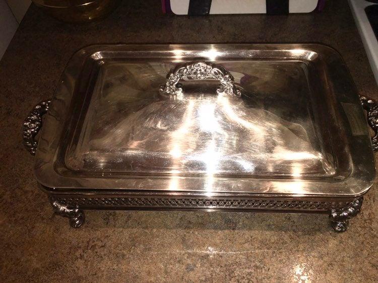 Vintage silver casserole dish holder
