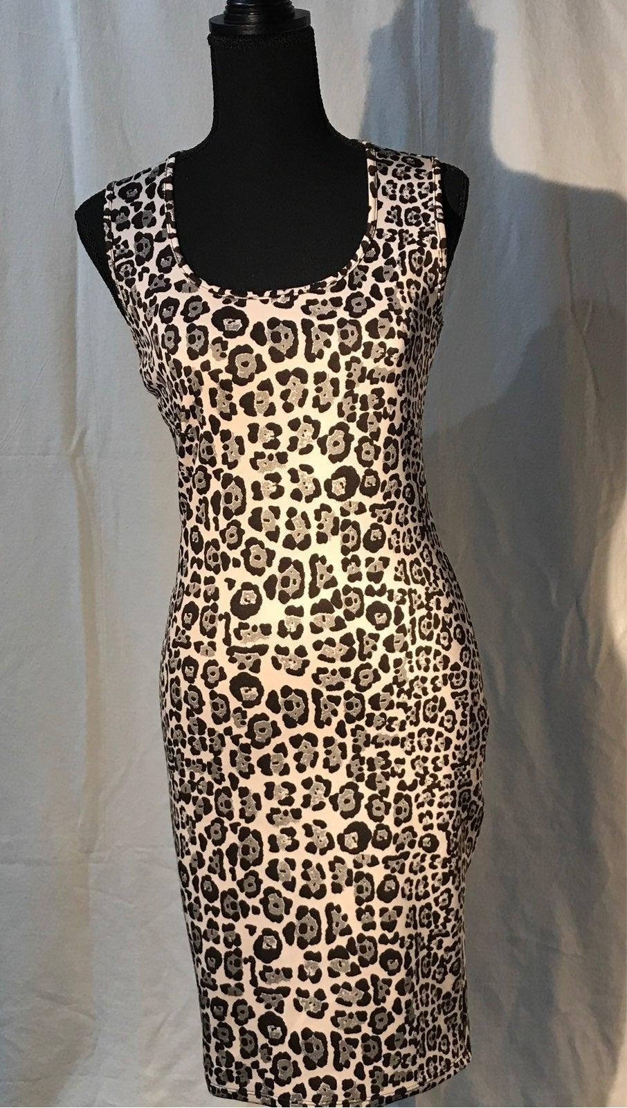 Bodycon cheetah black beige dress