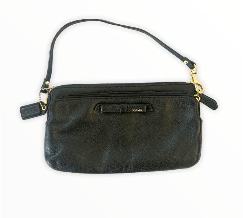 Coach black leather multi pocket clutch