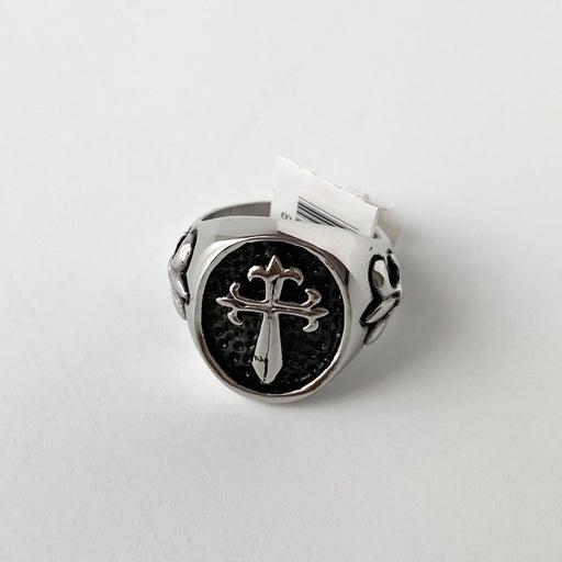 Steel Cross Ring Size 6