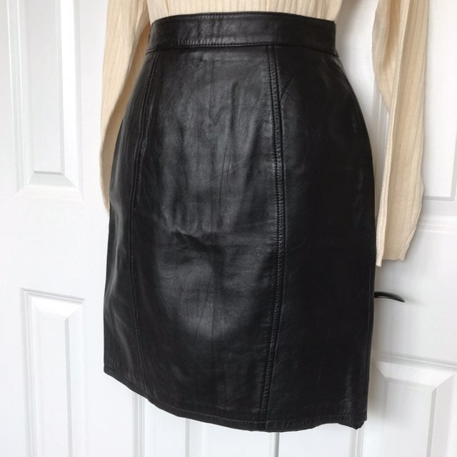 Bermans Black Classic Leather Mini Skirt