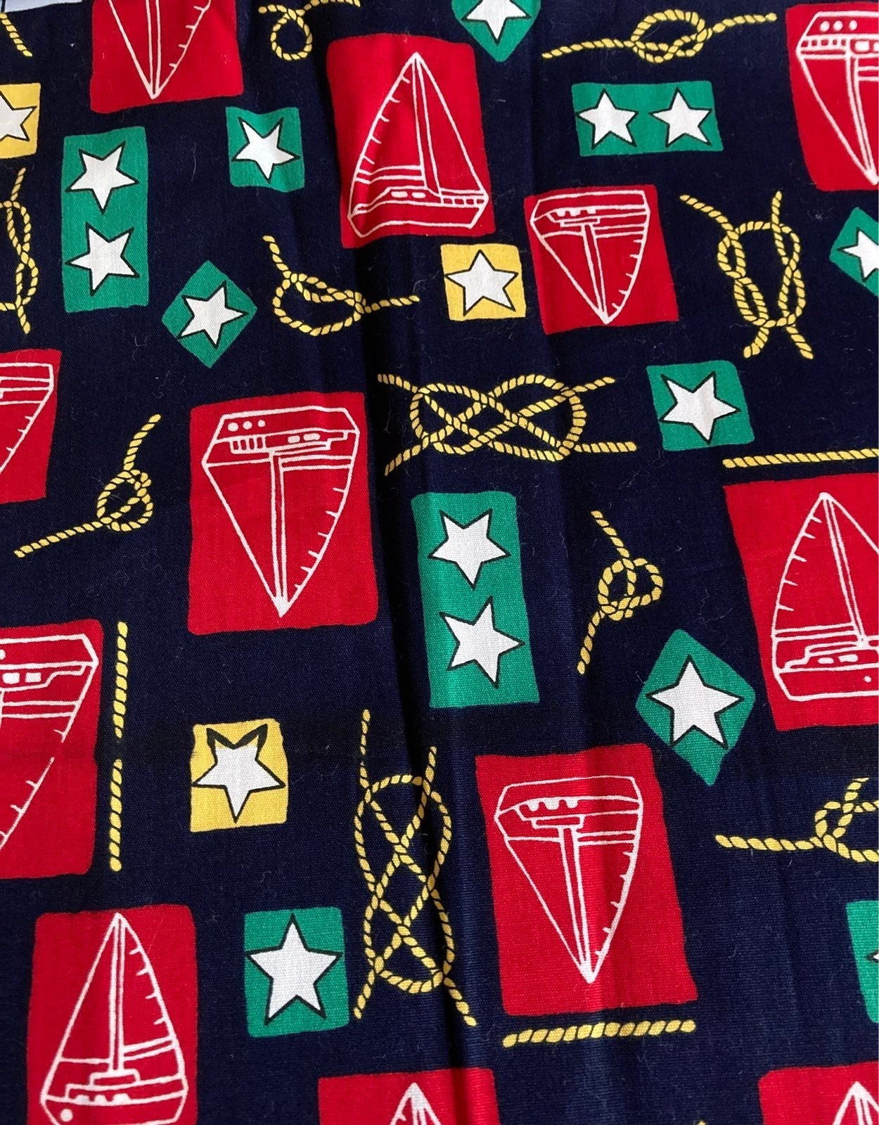 Nautical Theme Coordinating Vtg Fabric