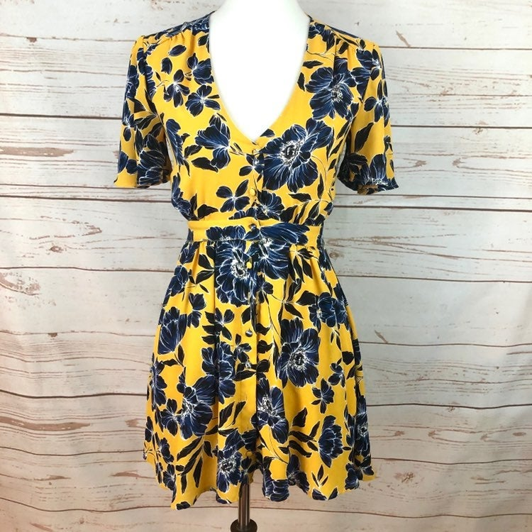 Olivacious Yellow Navy Floral Dress