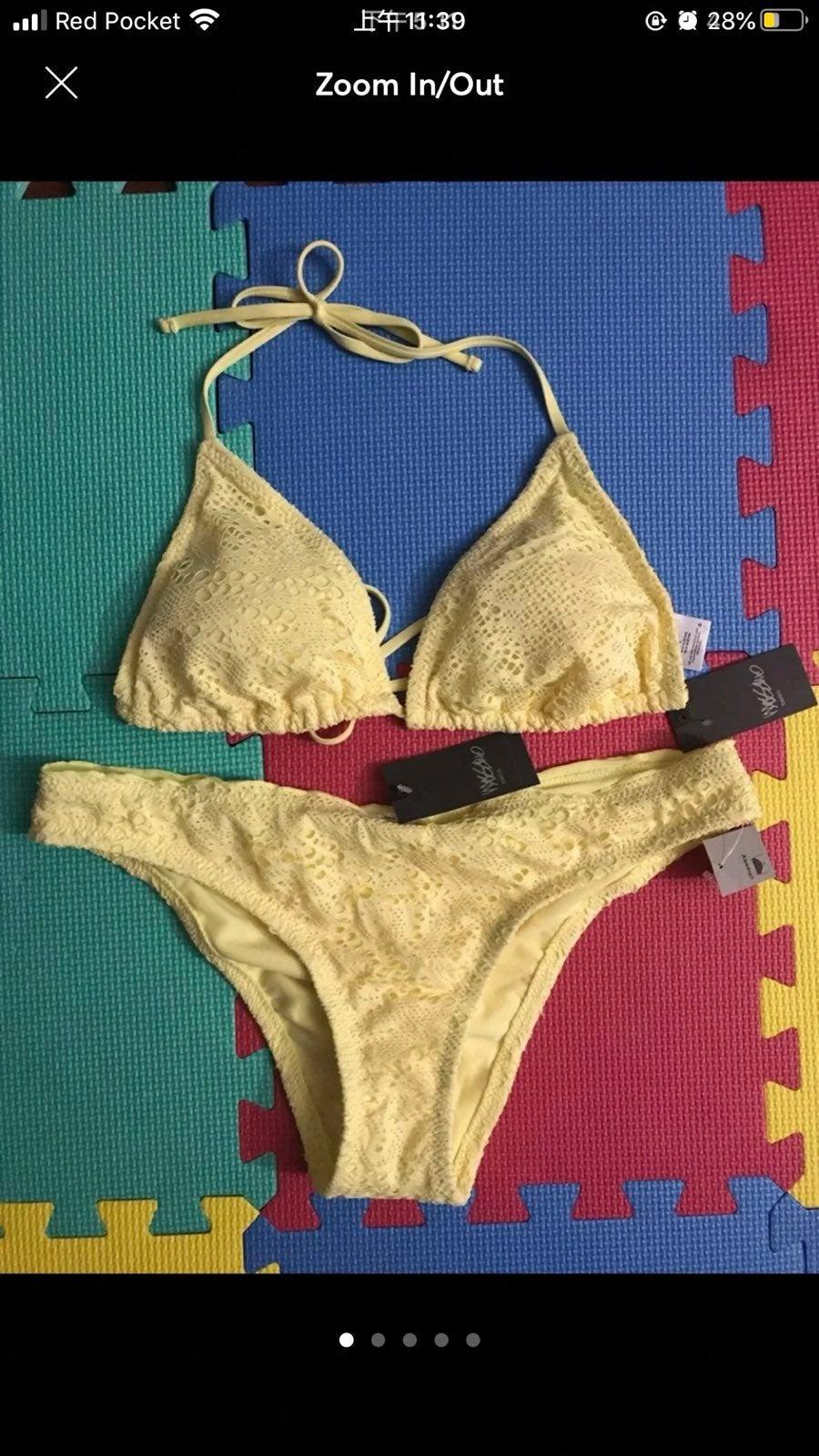 Women Crochet Triangle String Bikini Set