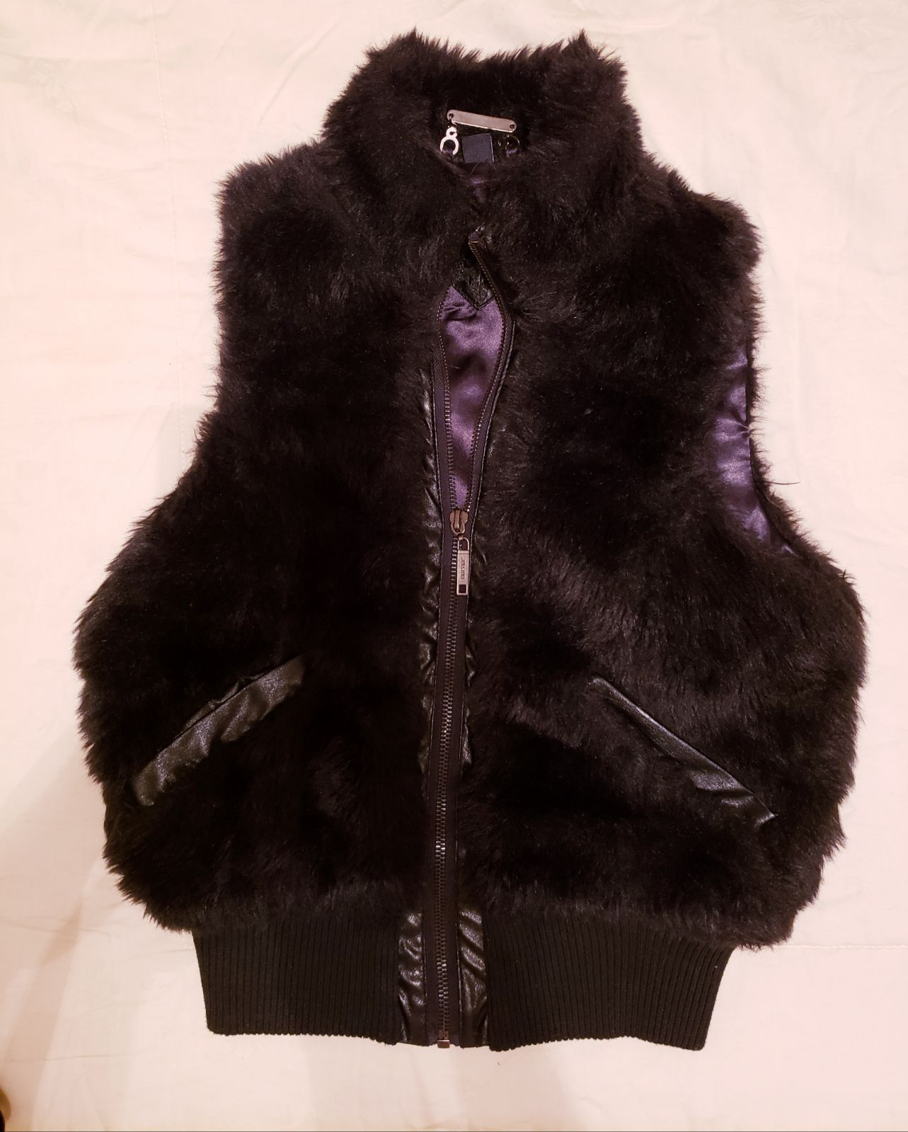 Faux Fur Vest for girls 14/16 black