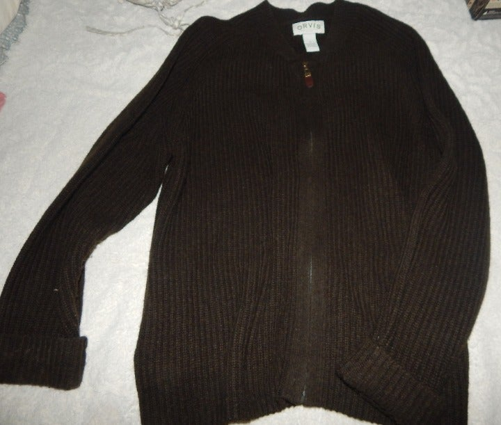 Men's Orvis XL Wool Zip Up Sweater