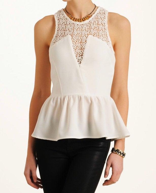 Abbeline white peplum blouse XS