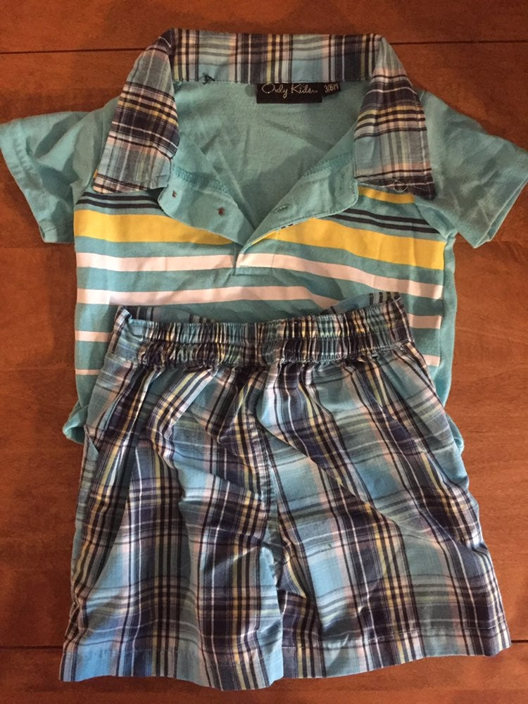 Boys baby short outfits x2 3/6 mos mix