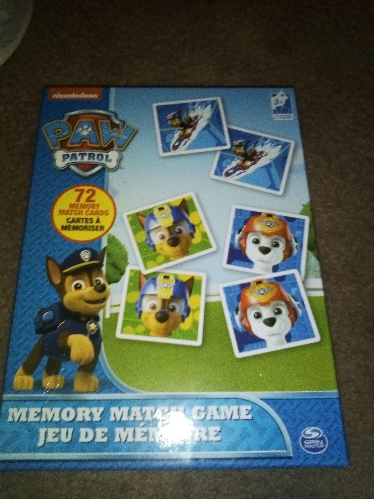 Paw Patrol memory matching game