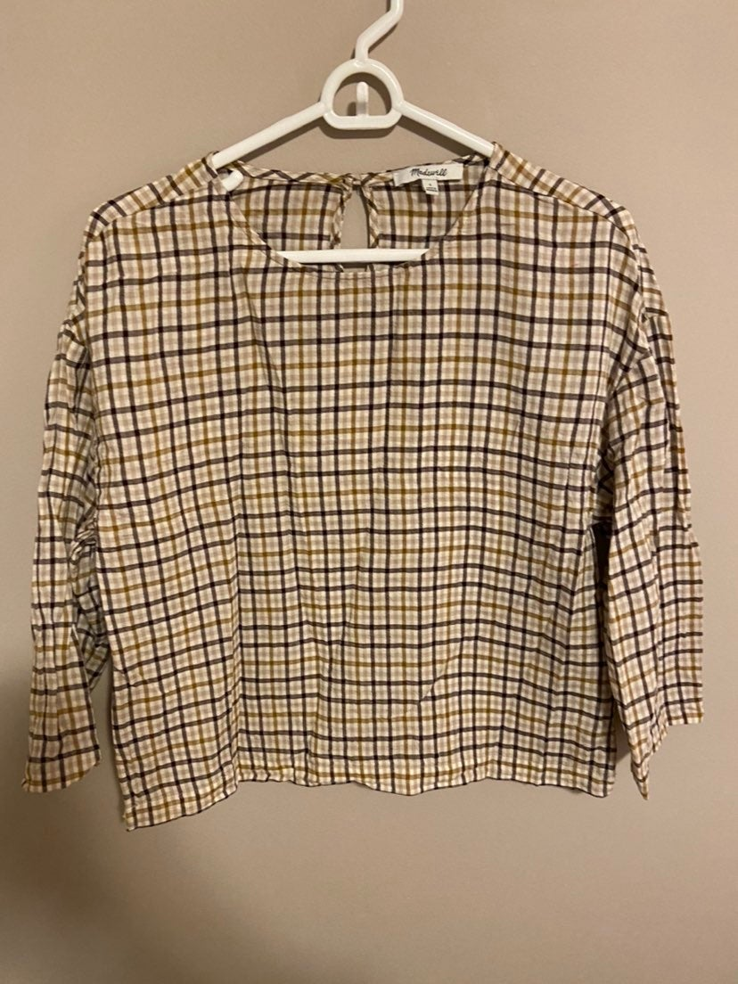 Madewell small tan and brown blouse