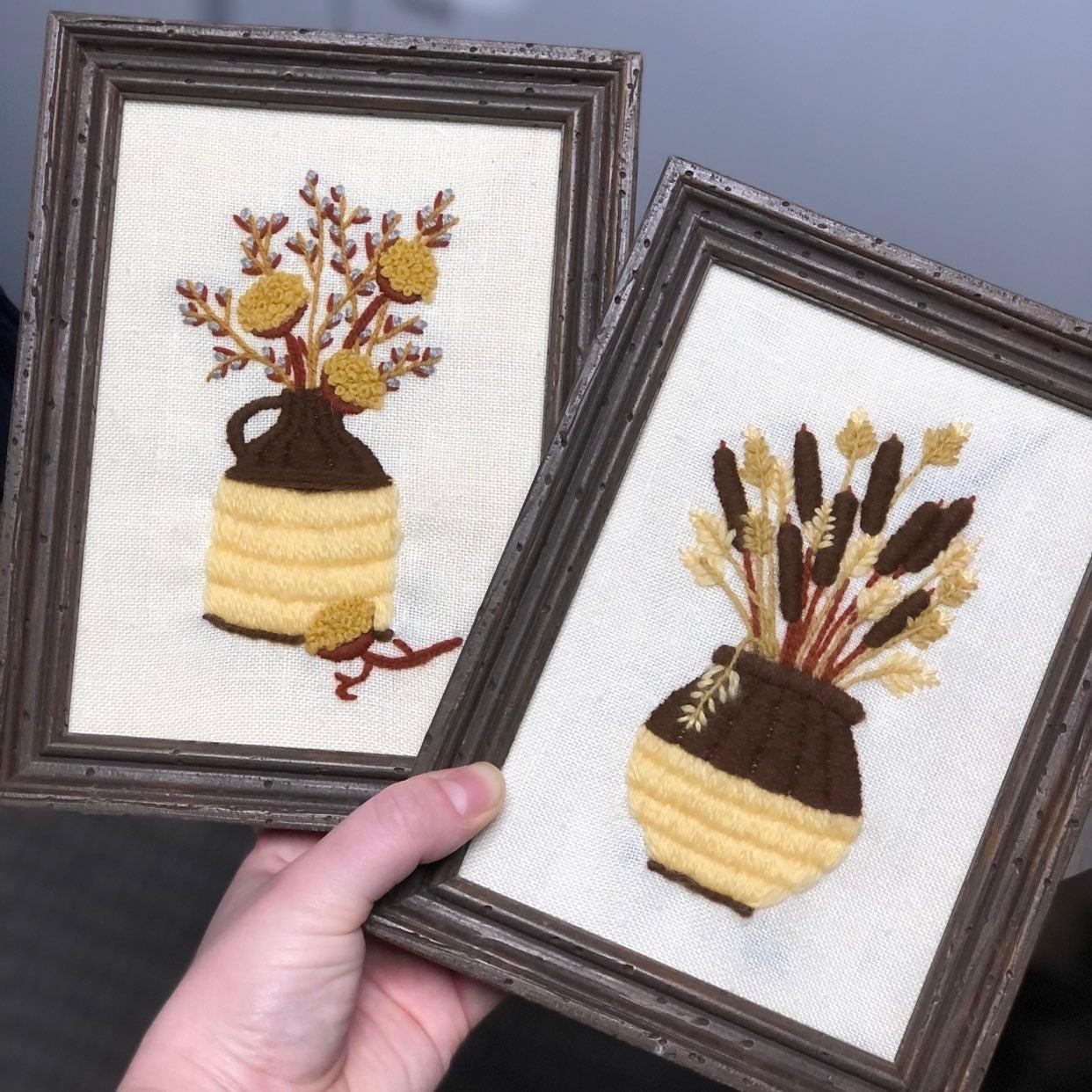 Fall dried bouquet crewel wall art