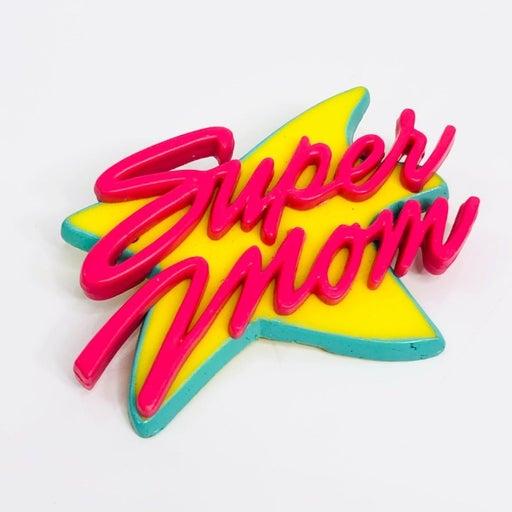 Super Mom Pin Vintage 90s Star Brooch