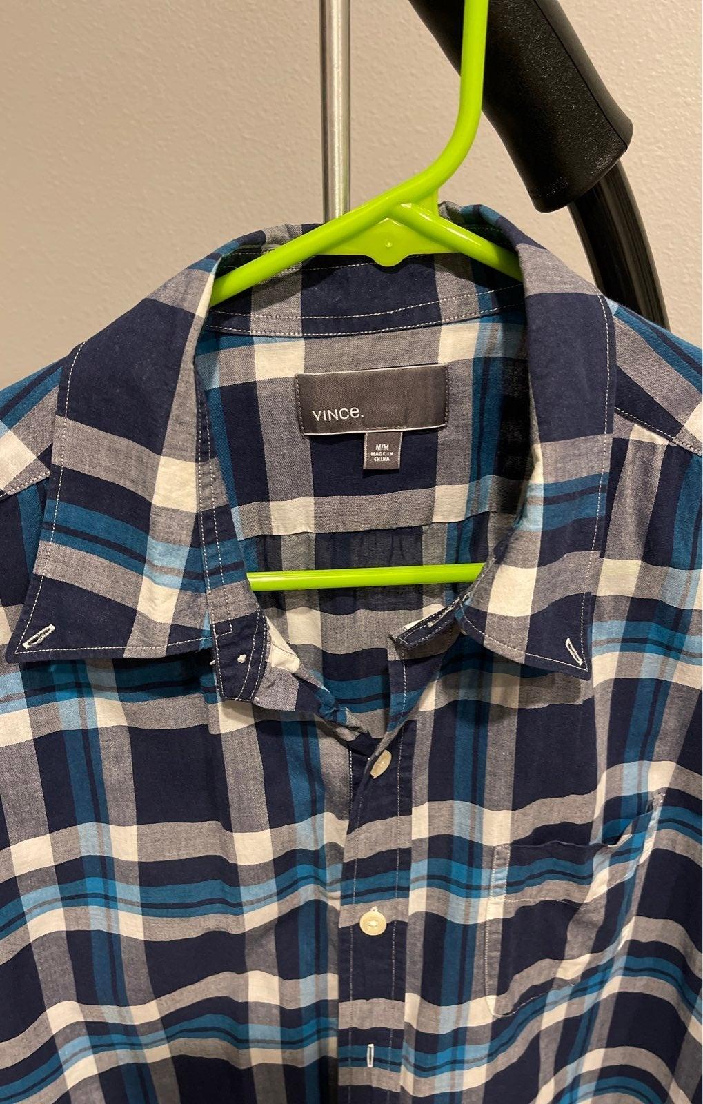 Vince Plaid Short Sleeve Shirt Size M
