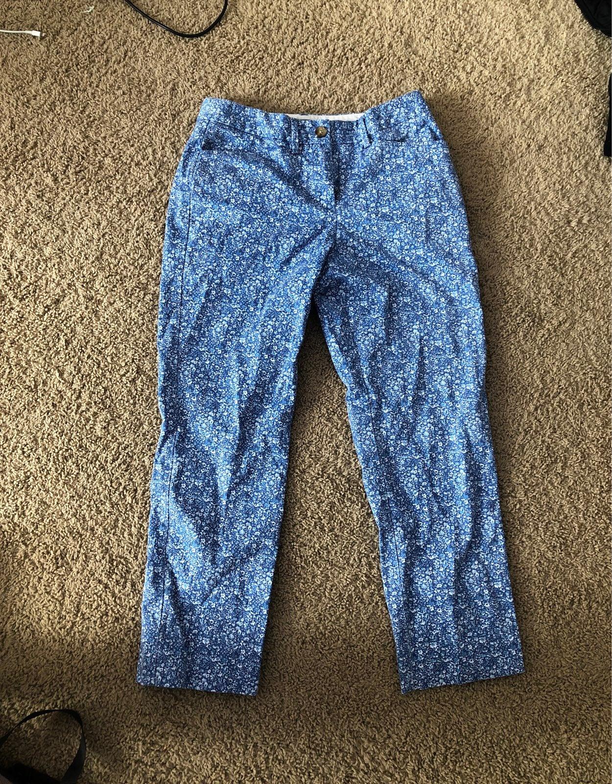 Blue floral pants size 2
