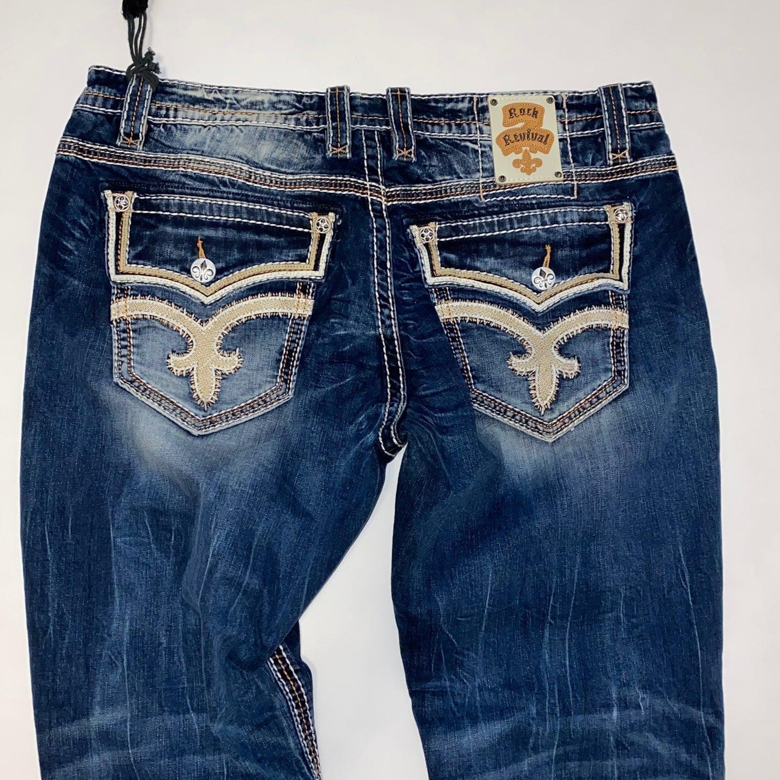 Mens Rock Revival Straight Jeans 42
