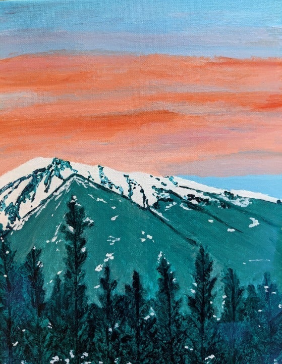 Original snow mountain acrylic painting