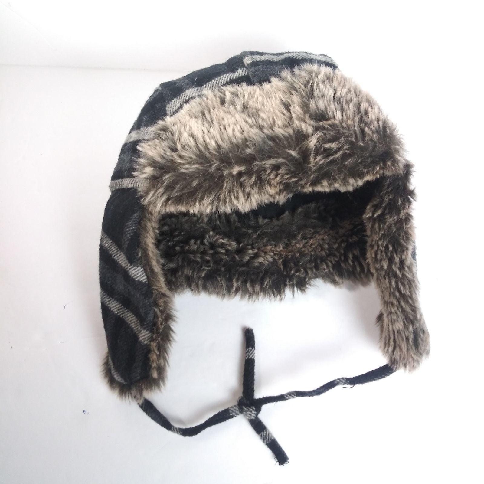 Route 66 Black Blue Plaid Winter Fur Hat