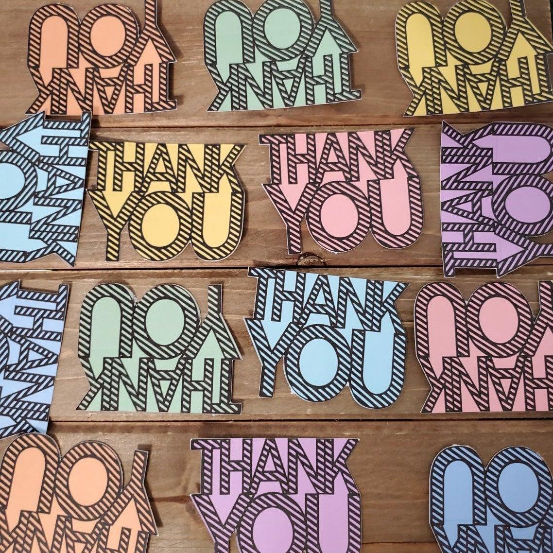 Thank You Cards Pastel Black Card Set 50