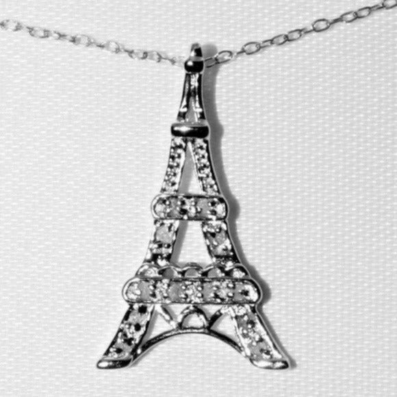 Sterling Diamond Necklace Eiffel Tower