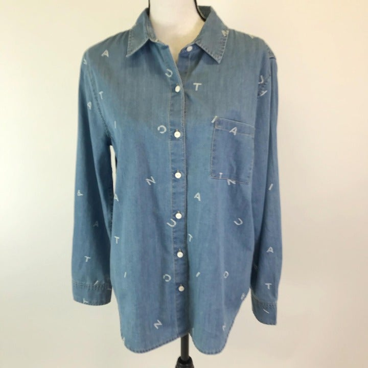 Nautica Denim Button Front Top L