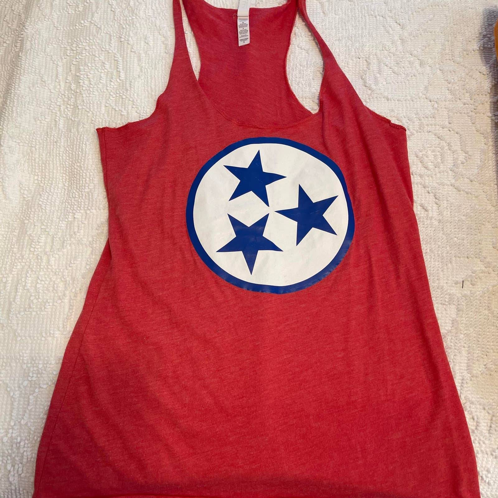 women's small tank top red tri-star