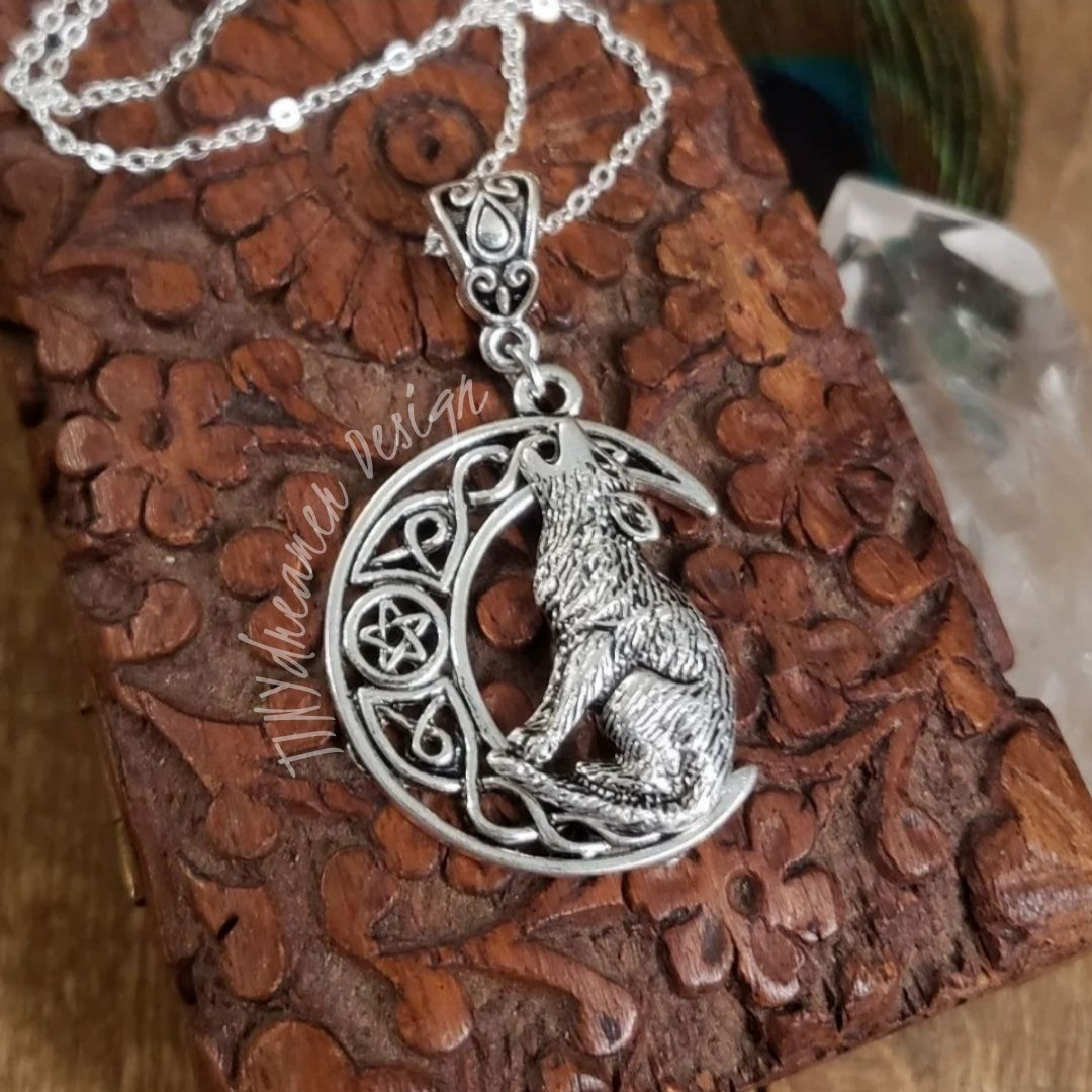925 Silver Celtic MOON WOLF necklace