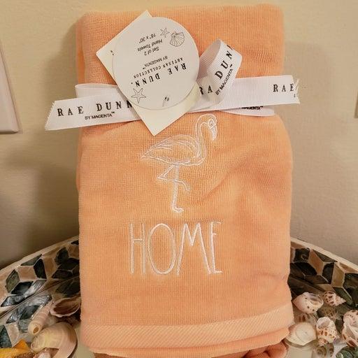 Rae Dunn flamingo plush hand towels