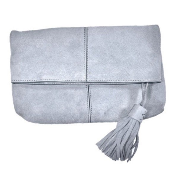 Leith Suede Fold Over Tassel Clutch